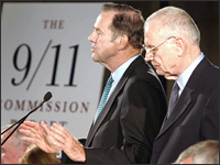 Sept. 11 Commission Chairman Thomas Kean, left, and Vice-Chairman Lee Hamilton speak to the press in Washington, July 22, 2004. Credit: Reuters