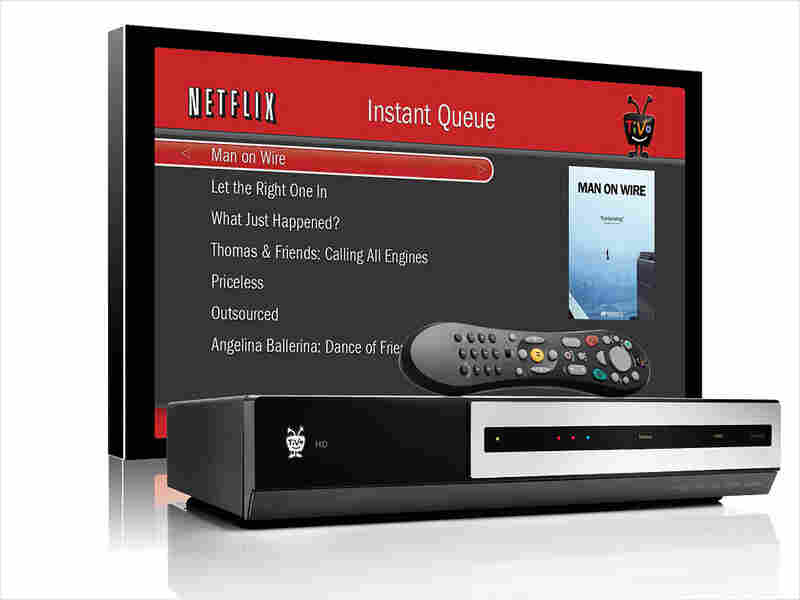A TiVo box with a TV showing Netflix