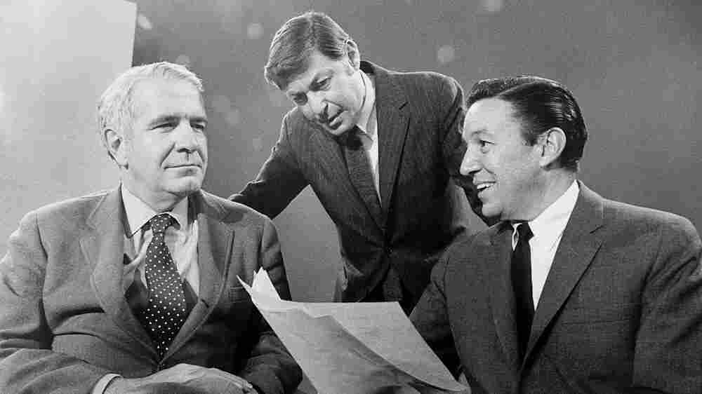 Show creator and producer Don Hewitt with correspondents Harry Reasoner  and Mike Wallace in 1968