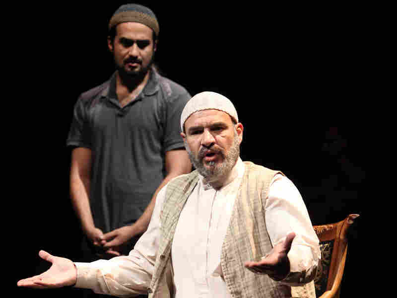 Abdul-Aliyy (Demosthenes Chrysan) and Shahid (Fajer Al-Kaisi) in 'Aftermath'
