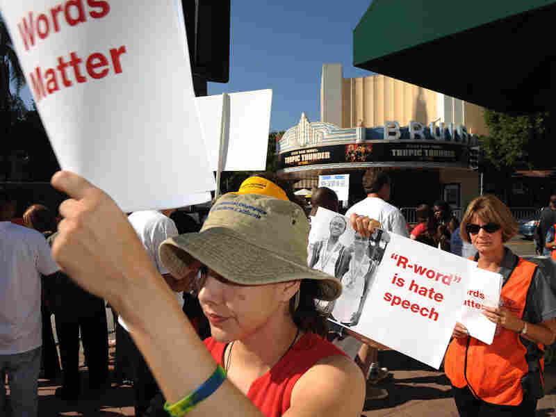 Protesters demonstrate against 'Tropic Thunder' at its Los Angeles premiere in August.