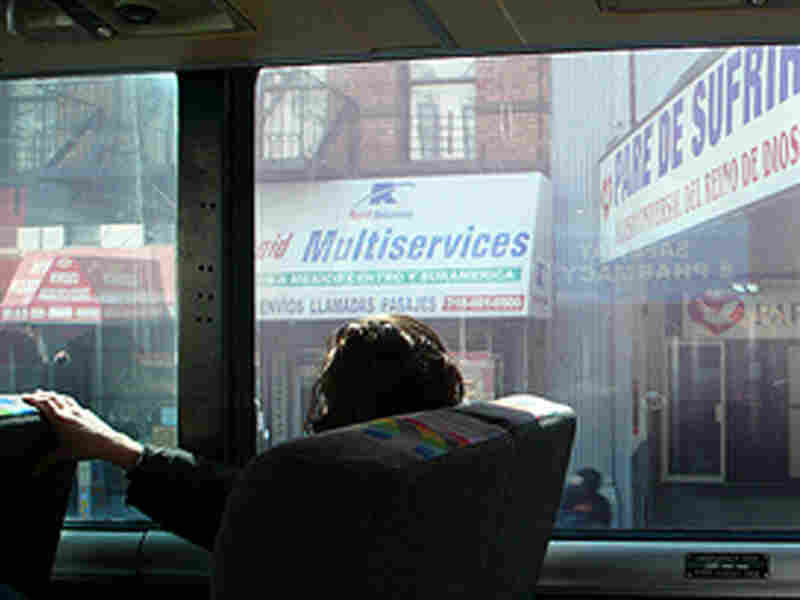 A view of the Bronx from a bus window