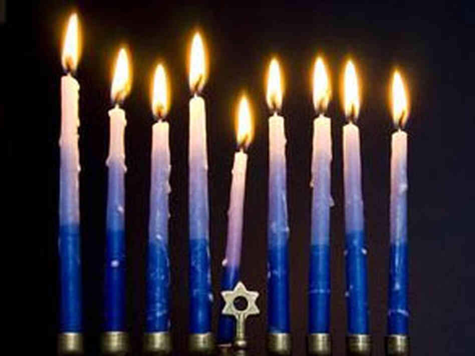 Candles in a Hanukkah menorah