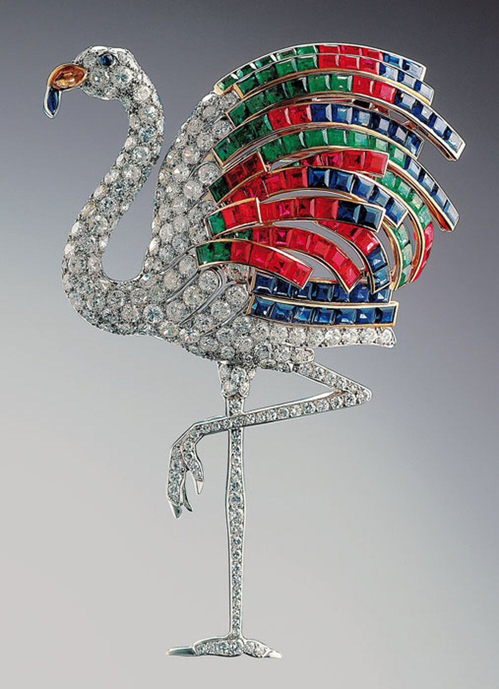 Flamingo clip brooch, 1940, diamonds, emeralds, rubies, sapphires, citrine and platinum.