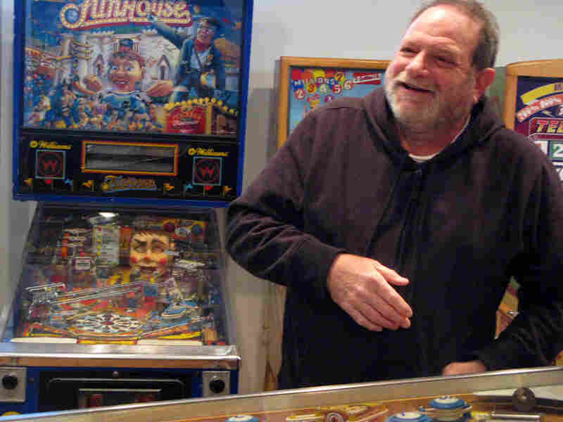 David Silverman with his pinball machine collection.