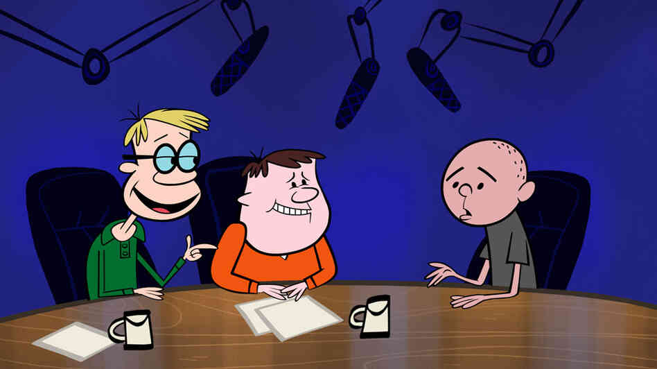 Cartoon Stephen Merchant, Ricky Gervais and Karl Pilkington.