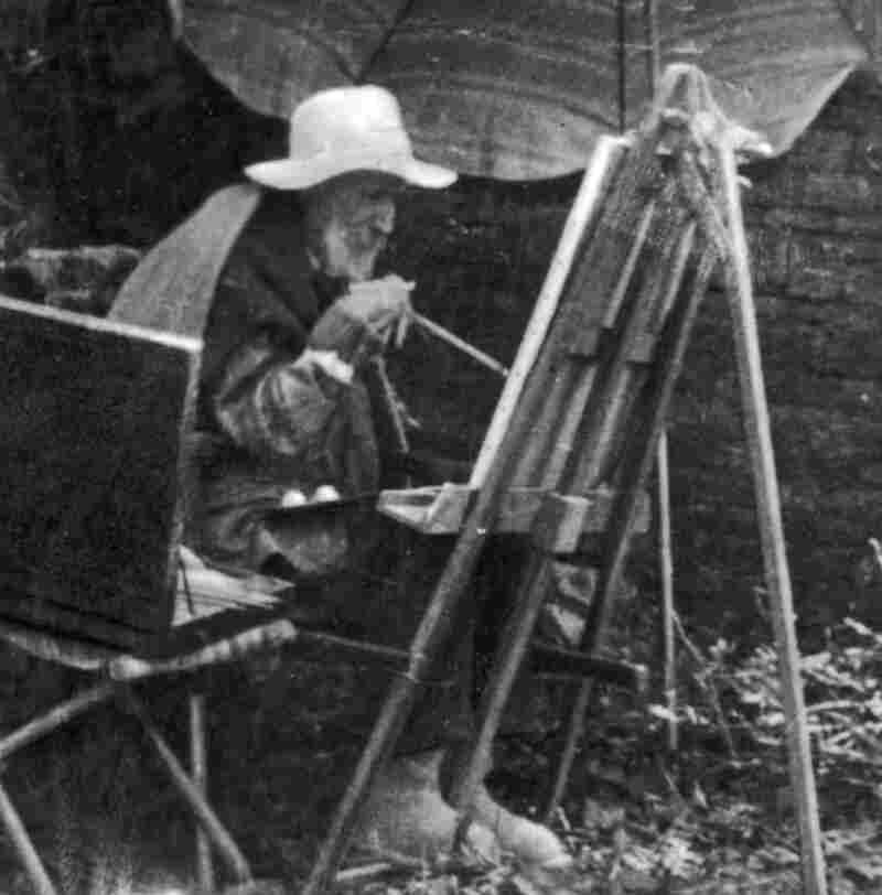 Renoir paints with a brush tied to his arthritic hand during the last days of his life.