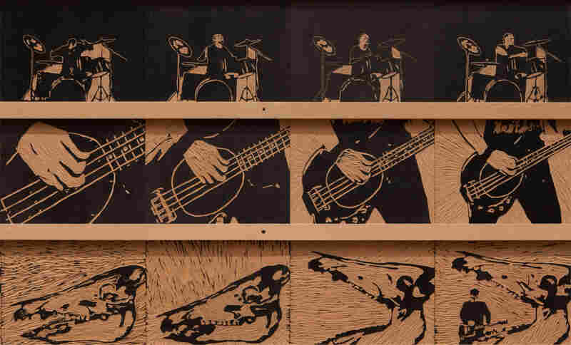Woodcuts for Tromorama's stop motion animation music video 'Serigala Militia'