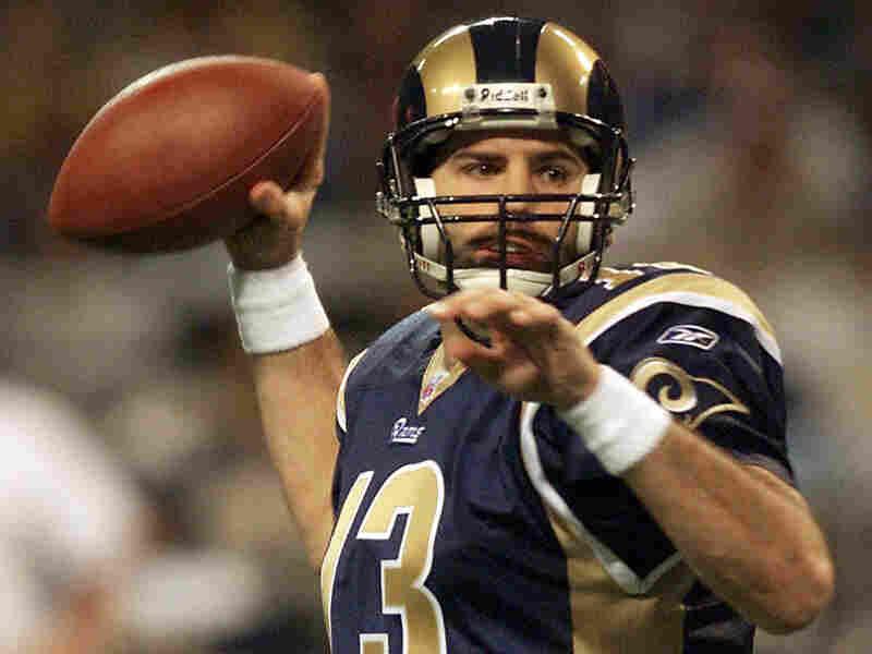 Quarterback Kurt Warner, pictured in a St. Louis Rams uniform in January 2002.