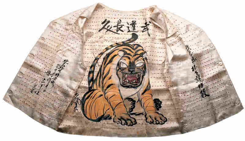 Senninbari vest, silk cloth, thread, ink, buttons, paint