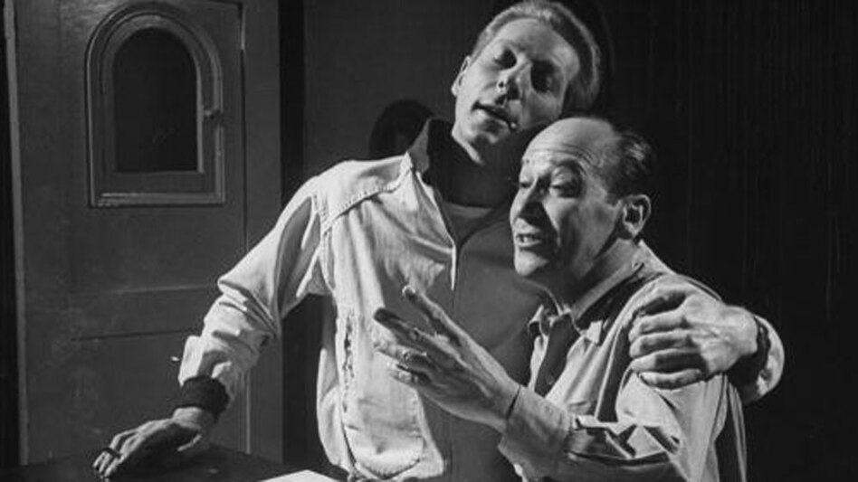 Actor Danny Kaye (left) clowns around with composer Frank Loesser while rehearsing a song for the 1952 film <em>Hans Christian Andersen.</em>