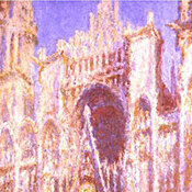 Three different paintings of the Rouen Cathedral by Claude Monet.