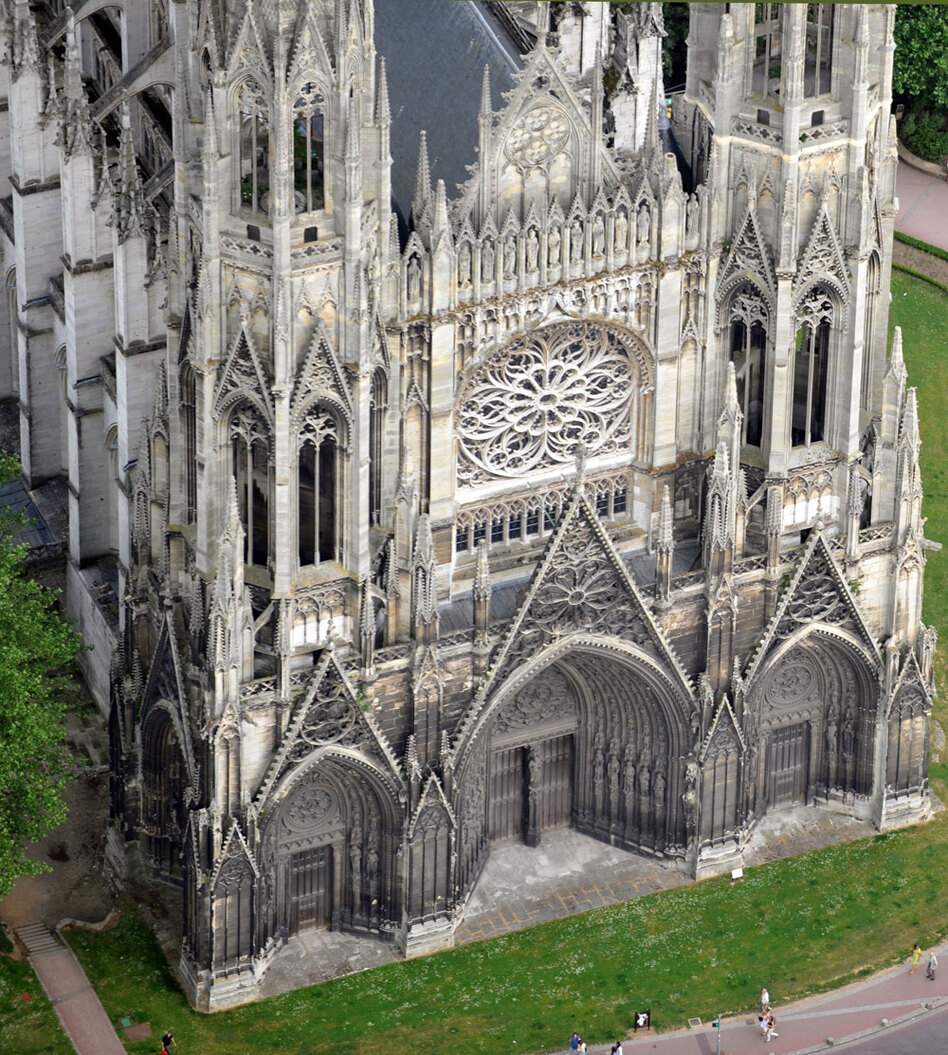 Monet spent six months painting the Rouen Cathedral, working to capture — sometimes on 10 canvases at a time — the way light played across the Gothic structure. (AFP/Getty Images)