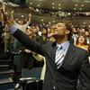 Members of the Lakewood Church worshipping in Houston