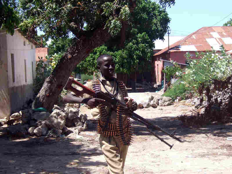A Somali soldier patrols Mogadishu in May.
