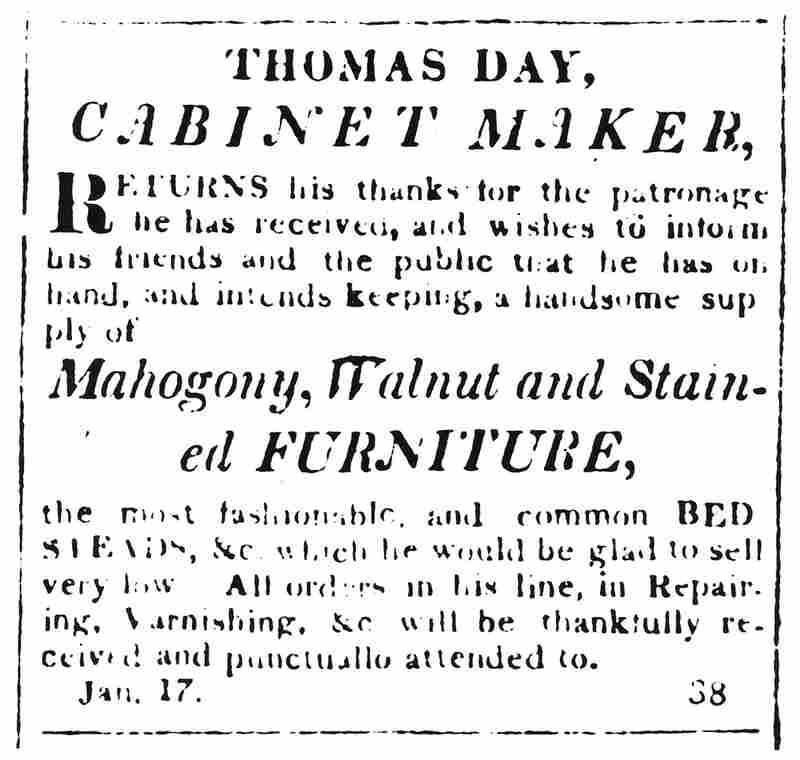 Thomas Day advertisement