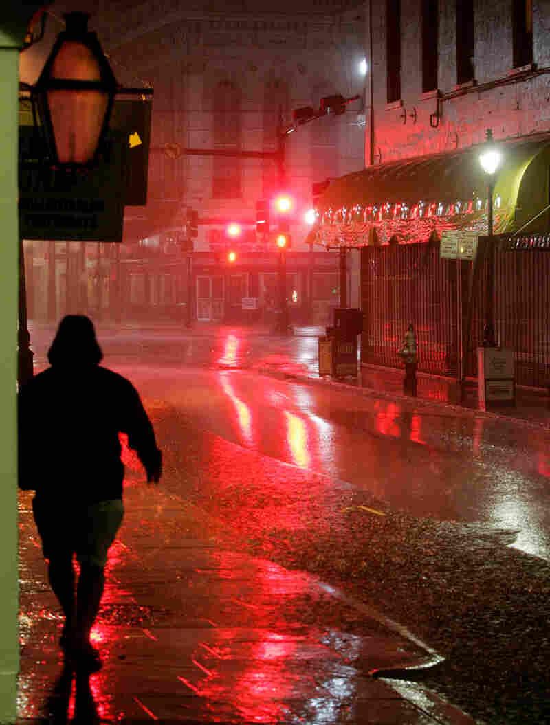 Man In French Quarter during Hurricane Katrina