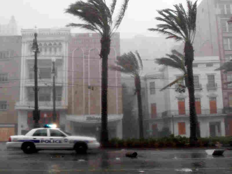 New Orleans Police Car on Canal Street during Hurricane Katrina