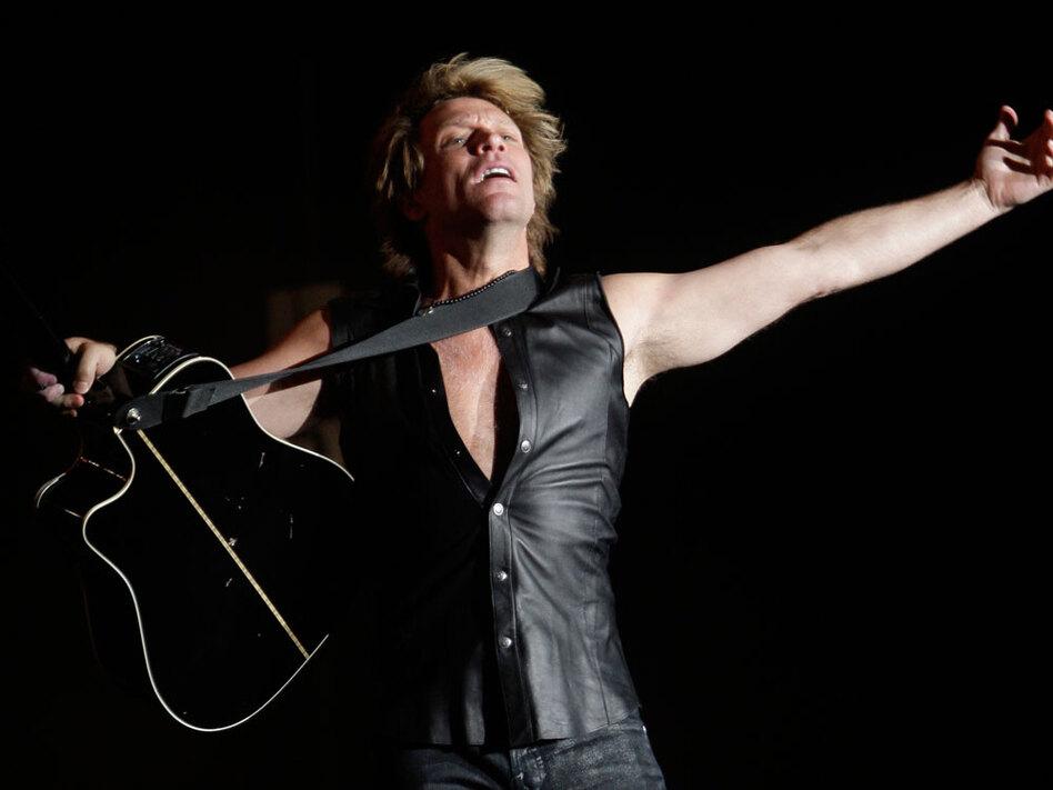 Lead singer Jon Bon Jovi performs at a concert in Madrid in June 2010.