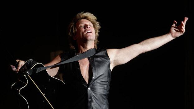 Lead singer Jon Bon Jovi performs at a concert in Madrid in June 2010. (AP)