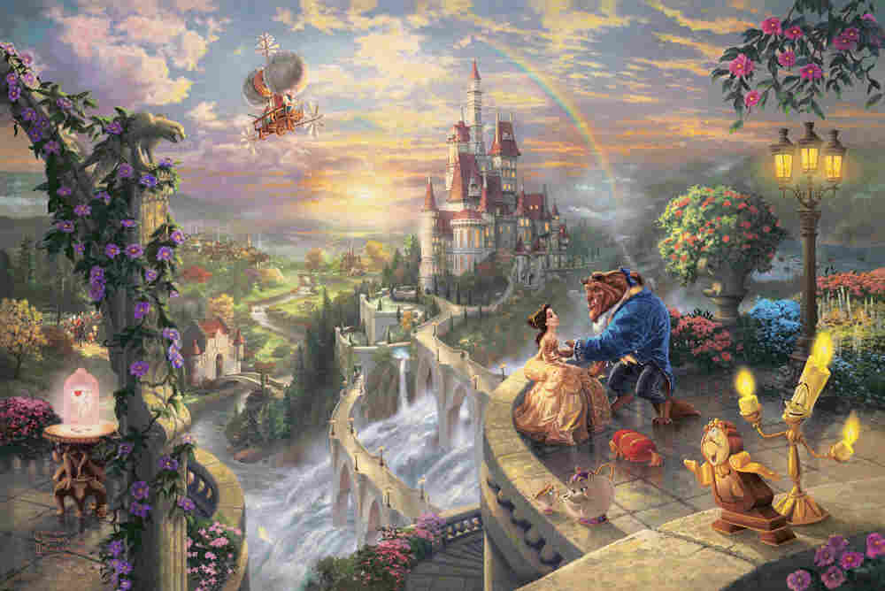 'Beauty and the Beast Falling in Love' by Thomas Kinkade.