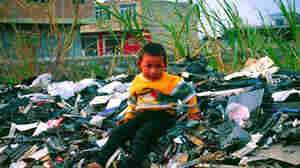 migrant child sits atop a pile of unrecyclable computer waste imported to Guiya, China, from other countries.