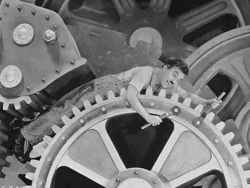 Charlie Chaplin as a Factory Worker in Modern Times
