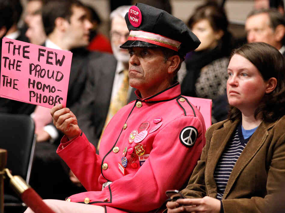 "Protester at ""don't ask, don't tell"" hearings in Washington"