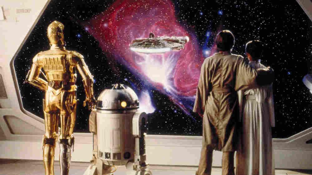 C-3P0, R2-D2, Luke Skywalker, and Princess Leia