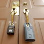 Locks on the doors of a foreclosed home