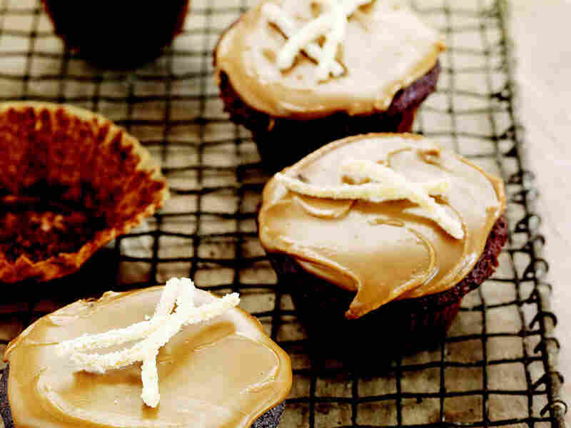 Gingerbread Cupcakes with Candied Ginger