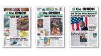 Detail from 'Our Front Pages': Three 'Onion' covers
