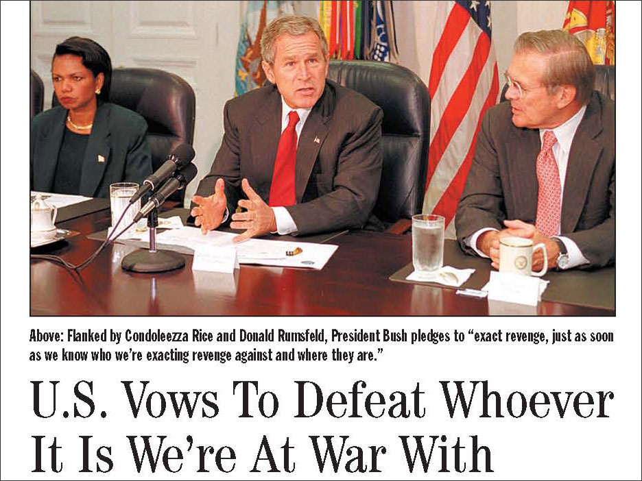 Detail of 'Onion' Article: 'US Vows To Defeat Whoever It Is We're At War With'