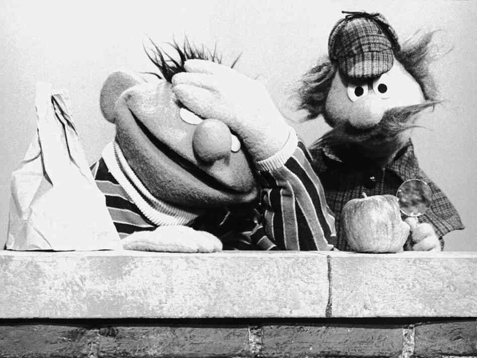 Muppets Ernie and Sherlock Hemlock on 'Sesame Street'