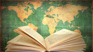 w: Book and map of the world
