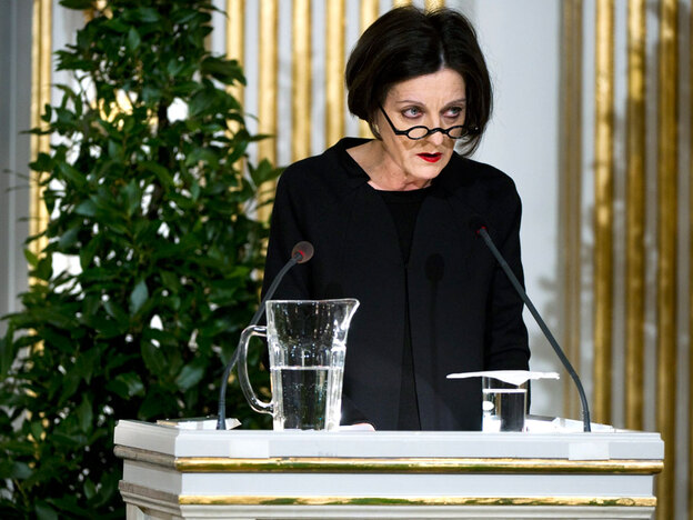 Romanian-German writer Herta Mueller speaks during the Nobel Lecture in Literature on Monday in Stockholm.
