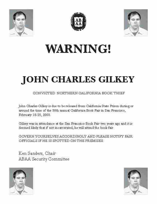 John Gilkey 'Wanted' Poster