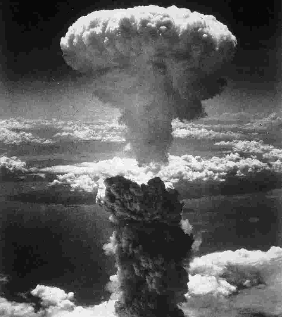 A mushroom cloud rises into the air after the atom bomb was dropped on Nagasaki, Japan.