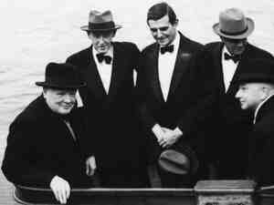 British Prime Minister Winston Churchill, with Harry Hopkins, John Winant and and William Bullitt.