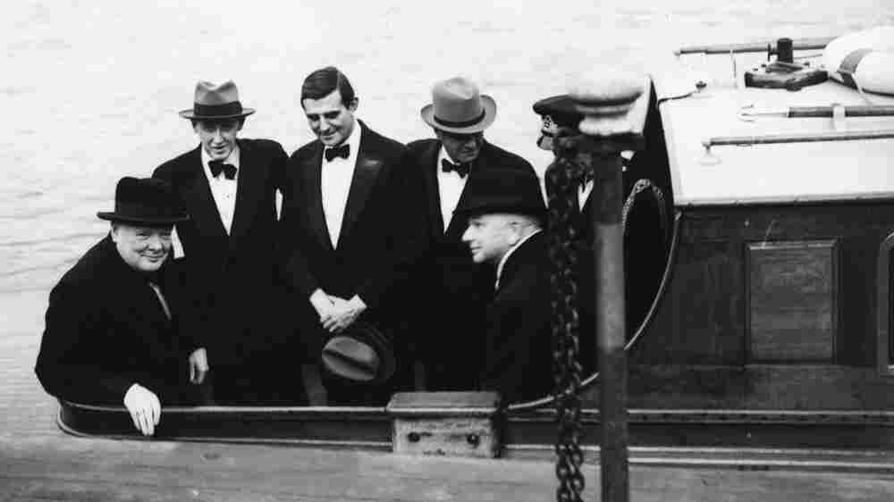 British Prime Minister Winston Churchill, with Harry Hopkins, John Winant and and William Bullitt.