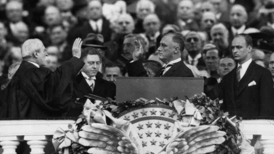 On March 4, 1933, President Franklin Roosevelt took the oath of office administered by Chief Justice Charles E. Hughes. Four years later, Roosevelt would attempt to stack the Supreme Court with liberal justices. (Getty Images)