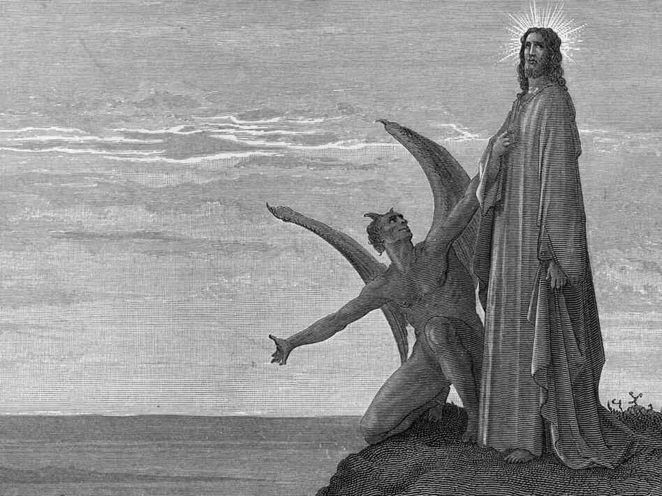 The devil tempts Jesus in the desert.