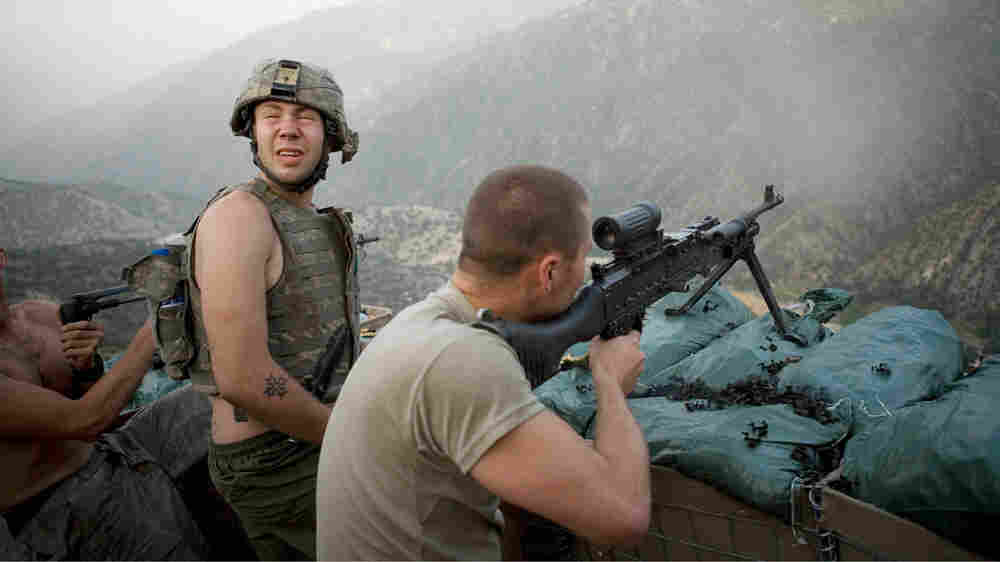 Members of Battle Company engaged in a firefight in Afghanistan