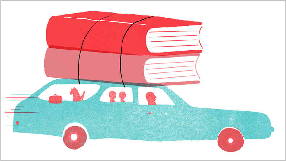 Illustration: Books on top of a car.