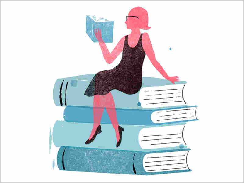 Illustration: A woman reads on top of a stack of books.
