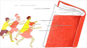 Illustration: People running to a book