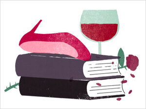Illustration: Books, wine and a toppled high heel.