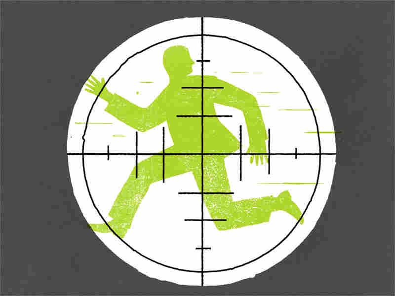 Illustration: Man running, superimposed by sniper target.