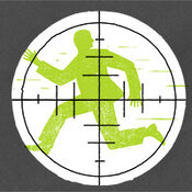 Illustration: Man running under sniper target.