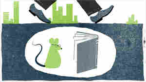Illustration: Mouse below street reads book as man's shoes walk above.